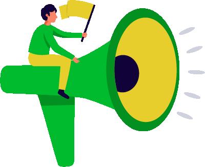 consulente stilizzato di una web agency con bandierina in mano su megafono