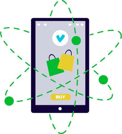 smartphone stilizzato con onde magnetiche che girano attorno a simboli del web marketing