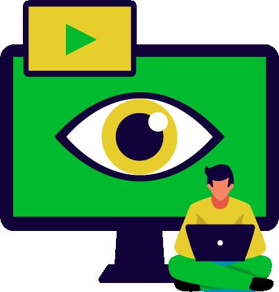 consulente di web marketing stilizzato lavora al computer, alle spalle uno schermo con un occhio disegnato