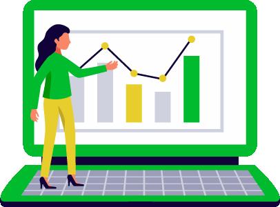 consulente stilizzata di una web agency indica crescita ricavi su schermo computer