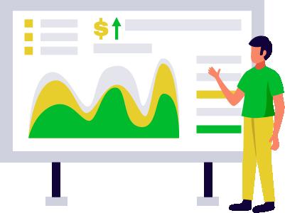 consulente di web marketing stilizzato illustra risultati di business alla lavagna