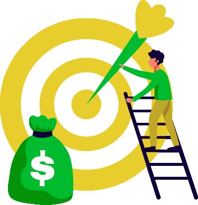 consulente stilizzato di una web agency punta un target con una freccia