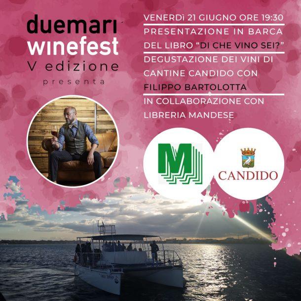 card grafica social presentazione libro in barca due mari winefest